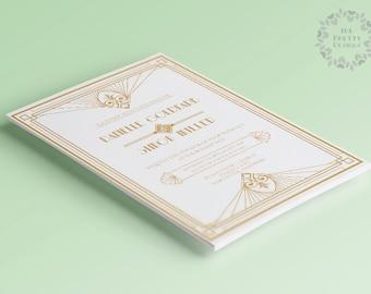 Art deco printable wedding invitation and rsvp, white, elegant wedding invite, gatsby invitation, gold invitation, invitation template