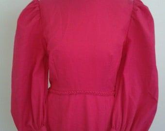 Vintage maxi dress Hot Pink 1970's Maxi Prairie evening Dress Small