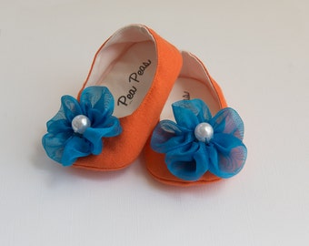 Baby Shoes Baby Girls Shoes Toddler Girls Shoes Soft Sole Shoes Spring Shoes Summer Orange and Blue Shoes Color Block Shoes
