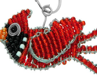 Beaded Cardinal Keychain or Zipper Pull - African beaded animal key chain