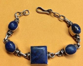 Vintage Sterling Silver Lapis Lazuli Bracelet