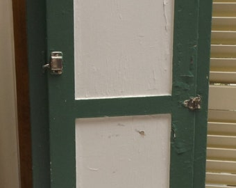 Antique Chimney Cabinet tall green and white 1930 cupboard farmhouse shabby chic