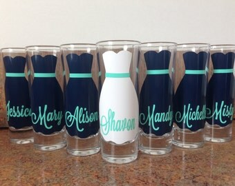 Wedding Glasses, Personalized Bachelorette/Bridesmaid Shot Glasses, Wedding Party Glasses (7)