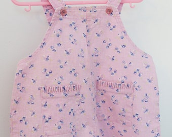 vintage baby clothes, baby girl 12 month Espirit lilac floral romper with pockets