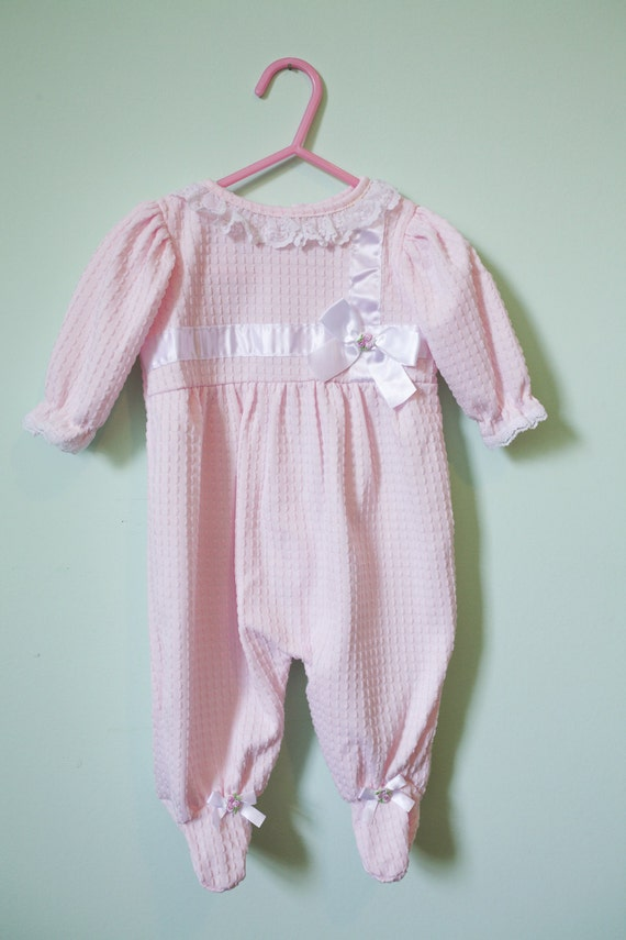 vintage baby clothes baby play sleeper pink and white