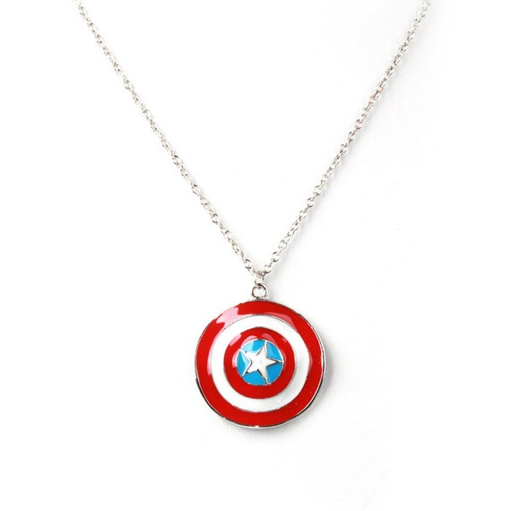captain america shield necklace by nerdgeekandbeyond on etsy