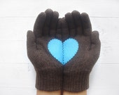 VALENTINE'S DAY GIFT, Heart Gloves, Dark Brown Gloves, Chocolate, Brown, Blue, Special Gift, Gift For Her, Romantic, Gift For Him, Love Gift