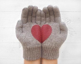 VALENTINES DAY GIFT, Heart Gloves, Dark Beige Gloves, Heather Brown, Special Gift, Gift For Her, Valentine Gift Idea, Winter Gift, Hearts