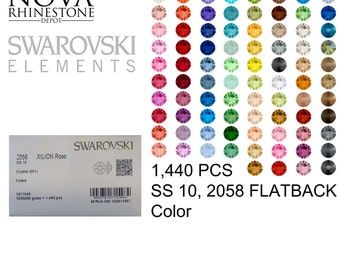 SS 10 Swarovski Element Flatback Not Hotfix 2058 COLOR 1440pcs your choice 27 colors to choose from