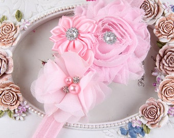 pink  kids headband - Baby Headbands infant Baby Headband - Baby Girl Headbands -pearl crystal center