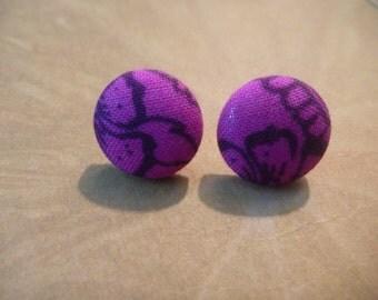 Stud Earrings - 15 mm, Purple Earrings, Flower Earrings, Stud Earrings, Round Earrings, Earrings, Jewelry