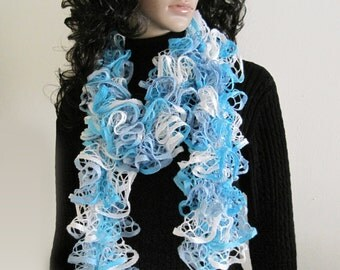 Lavender, Cyan and White Ruffle Scarf