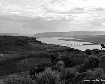 5x7 Wild Horse Monument // Eastern Washington // Black and White Landscape // Wide Open Spaces //  Vintage// Horse Photography//