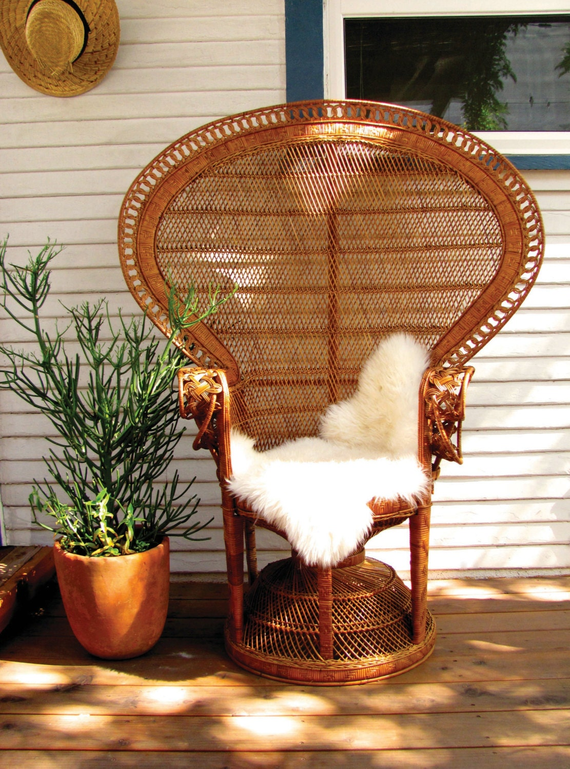 Reserved Original Iconic 1970 S Wicker Peacock Chair