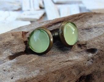 Green Post Earrings. Antique Bronze Stud Earrings. Green Ear stud. Post Earrings . (#016)