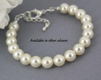 Pearl Bracelet, Pearl Jewelry, Bridesmaid Bracelet, Bridesmaids Gift, Bridal Party Jewelry, Strand Bracelet, Simple Bracelet, Wedding Gifts