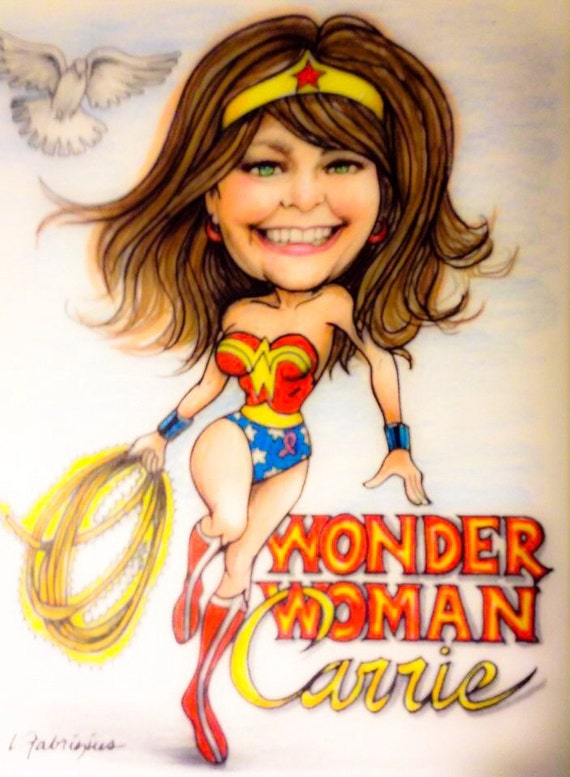 """CARICATURE of, """"I Can Do Anything, I'm Wonder-woman""""! Please visit my shop and let me do a caricature for you too!"""