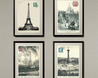 Old Paris postcard 4 set photo art prints. Buy 3 get 1 FREE! Classic look for Home or Office. Size 8 x10 inch.