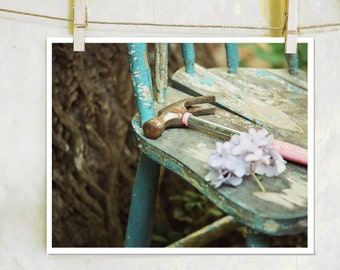 Broken -  fine art film photography, old chair photography, chair photography, broken chair photography, still life, hammer