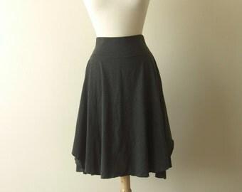 Womens Cotton Jersey Flutter Skirt knee length full swing skirt stretch cotton yoga waistband high waist - made to order,
