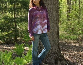 hand dyed one of a kind button front womens shirt in black cherry and purple - xl extra large