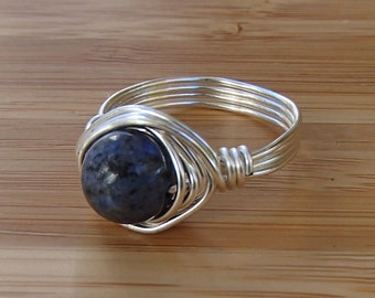 Dumortierite Ring. Dark Blue Ring. Something Blue. Blue Jewelry. Wire Wrapped Ring. Blue Ring