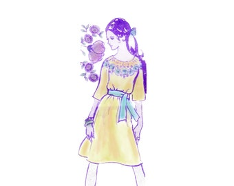 60s uncut Peasant Dress pattern Embroidered Dress pattern vintage 34-26-36 Mail Order pattern Alice Brooks 7389