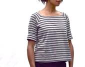 The Mariner's Shirt in Hemp/ Organic Cotton, Raglan Sleeve, Striped Top