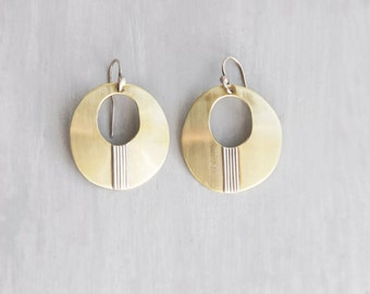 Vintage Brass and Silver Earrings -  modern ovals on sterling earwires