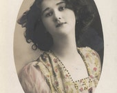 Vintage postcard Beautiful Young Teenage Girl Yellow Pink Gold Dress RPPC 1911