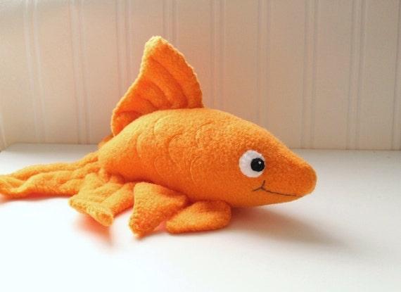 Handmade orange goldfish stuffed animal plush fish for Fish stuffed animals