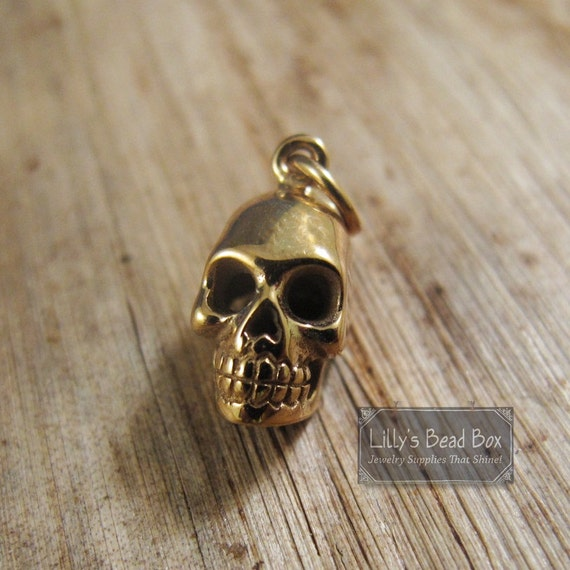 Gold Skull Charm, Skeleton Head, Natural Bronze Charm for Making Jewelry, Halloween Pendant, Bracelet or Necklace (CH 578b)