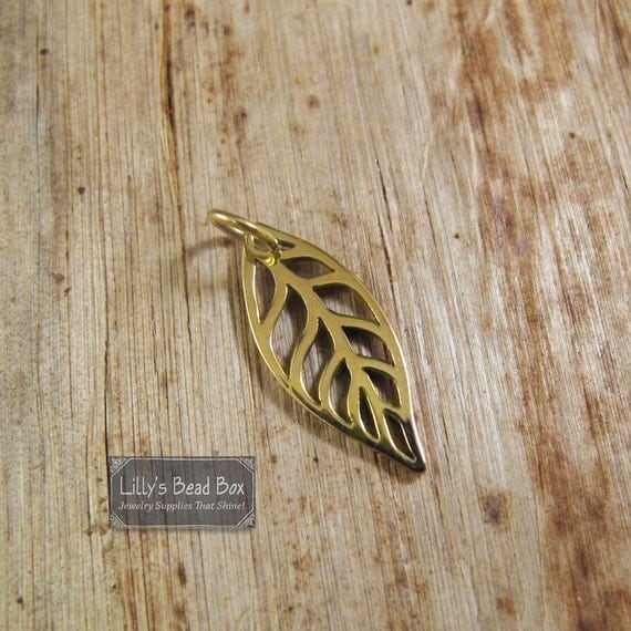 Gold Leaf Charm, Natural Bronze Openwork Leaf Pendant, Supplies for Making Jewelry, Nature Charm for Necklace or Bracelet (Ch 815b)
