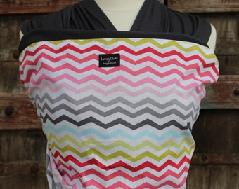 SUPER LIGHTWEIGHT Baby Sling Wrap Carrier-ORGANIC BAMBoO-Rainbow Chevron on Gray-One Size Fits All-Newborn to Toddler-DvD Included