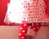 Baby Girls Polka Dot Red White Chiffon Ruffle Legwarmers Leg Warmer ADD a Bow Set. Halloween Costume Prop Birthday Dance Dots Minnie Mouse