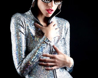 Silver Holographic Dragon Skin Reptilian Bodysuit to bring out the Serpent in your Eyes