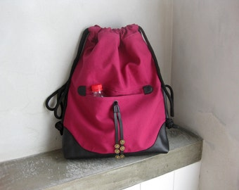 Backpack Drawstring Cinch Sack Violet-Red Canvas and Black Leather