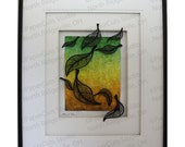 Leaf Fall Paper Sculpture- Handcut Original, Framed, Watercolor