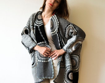 Plus size clothing Gray Plus Size Cardigan Sweater with Circles - MADE TO ORDER Crochet Women's Clothing