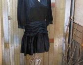 Vintage Black silk dress 80s mini party dress Grecian gathers Black Wedding dress  S M