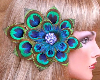 Peacock  Feather Hair Piece - Blue Rhinestone Cluster -Ready to Ship