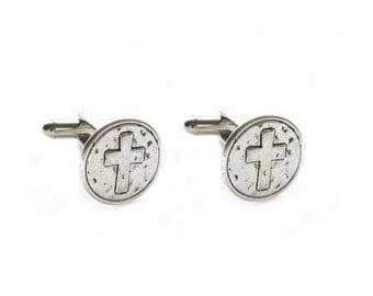 Cross Cufflinks, Wedding Cufflinks, Textured Cross Cufflinks, Men gift, cuff links, Religious Christian Catholic Gift