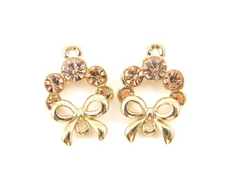 Peach Earring Findings Peach Rhinestone Earring Dangles DIY Bridal Bridesmaid Jewelry Special Occasion Gold Drop with Bow |O1-4|2