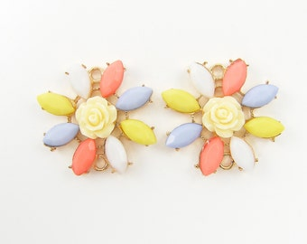 Pastel Flower Jewelry Connector Link - Peach Light Blue Yellow White Bracelet Link Earring Finding Pendant Charm |O3-14|2
