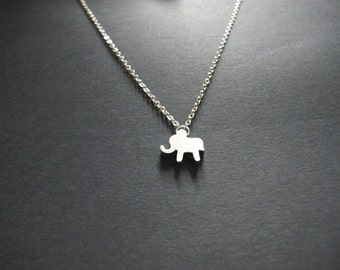 Lucky Elephant Tiny Pendant Necklace. Metallic Silver Plated Pendant Rhodium plated Chain. Modern Everyday Wear. friendship, sistership gift