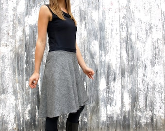 Organic Cotton & Hemp Denim Mid-Length Wrap Skirt