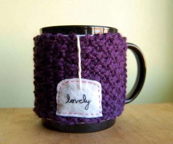 Lovely Cuppa Tea Mug Cozy in Purple - Knitted Chai Cup Cosy