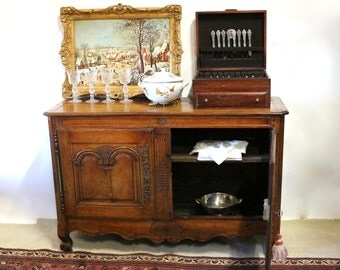 18th Century Louis XV Buffet, Antique French Sideboard Cabinet, 1700s French Farmhouse Decor