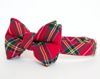 Christmas Dog Bow Tie Plaid Collar - Bright Red Holiday Tartan