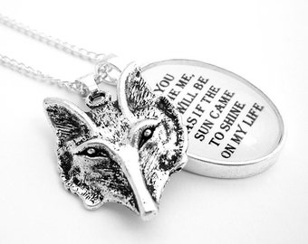 The Tame Fox Silver Plate Pendant Necklace The Little Prince Antoine de Saint-Exupery